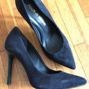 Pour la victoire black pumps with green heel